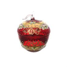 Конфетница с крышкой Bohemia лепка красная E-S 16 см