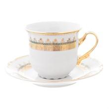 Набор чайных пар Thun Констанция Изумруд Золотой орнамент 230мл (6 пар)