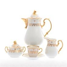 Кофейный сервиз Thun Менуэт золотой орнамент 6 персон 17 предметов
