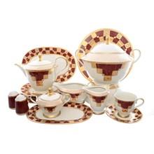 Столово-чайный сервиз Carlsbad Ромео Золотой орнамент Красный 6 персон