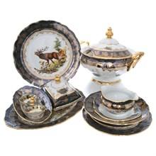 Столовый сервиз на 6 предметов Queen's Crown Aristokrat Охота зеленая 27 предметов