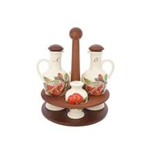 Набор для специй NUOVA CER Гранат 5 предметов (2 бутылки для масла+солонка+перечница на подставке)