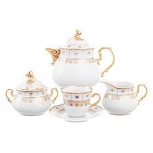 Чайный сервиз Thun Менуэт Золотой орнамент Натали 6 персон 17 предметов