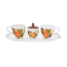 Набор для завтрака NUOVA CER 4 предмета (2 кружки + сахарница с крышкой на подставке)