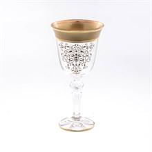 Кристина набор бокалов для вина золотая роспись Bohemia Матовая полоса (6 шт)