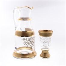 Набор для воды королевский золотая роспись Bohemia Матовая полоса 7 предметов