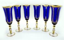 Набор бокалов для шампанского Imperator blue 6 штук