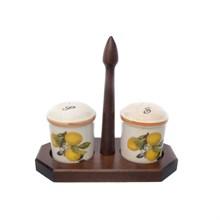 Набор для специй на деревянной подставке LCS Лимоны 19,7 см, высота 9,7 см