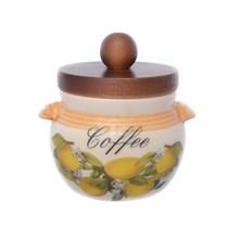 Банка для кофе с деревянной крышкой LCS Лимоны диаметр 9 см, высота 9 см