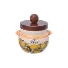 Банка для чая с деревянной крышкой LCS Лимоны диаметр 9 см, высота 9 см