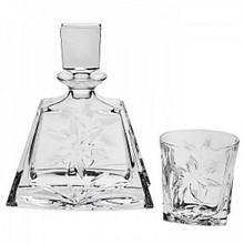"Набор для виски ""KATHRENE"" 1 штоф 700 мл, низкий + 6 стаканов 280 мл декор ""Цветок"","
