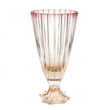 Ваза для цветов на ножке Bohemia Gold Oval красная 30см