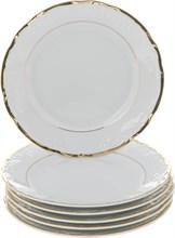 """Набор тарелок десертная 19 см 6 штук; """"Tulip"""", Белоснежный тюльпан, золотые держатели"""