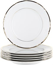"""Набор тарелок мелкая 27 см 6 штук; """"Tulip"""", Белоснежный тюльпан, золотые держатели"""