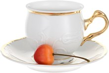 """Набор чашек 210 мл с блюдцем 145 мм 6 штук; """"Tulip"""", Белоснежный тюльпан, золотые держатели"""