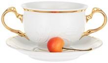 """Чашка 410 мл с блюдцем 180 мм для бульона с двумя ручками; """"Tulip"""", Белоснежный тюльпан, золотые держатели"""