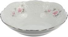 Салатник круглый 16 см Bernadotte Бледные розы отводка платина