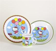 "Детский набор ""Cairo"", 3 предмета; декор ""Hello Kitty"", голубой; в подар. упаковке"