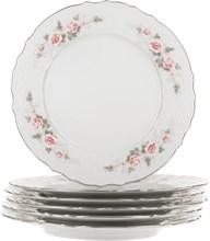 """Набор тарелок мелкая 27 см 6 штук; """"Bernadotte"""", декор """"Бледные розы, отводка платина"""""""