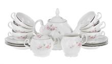 Чайный сервиз на 6 персон Bernadotte Бледные розы отводка платина
