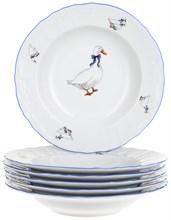 "Набор тарелок глубокая 23 см 6 штук; ""Bernadotte"", декор ""Гуси"""