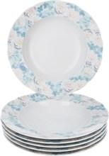 """Набор тарелок глубокая """"Rose"""" 23 см 6 штук; декор """"Голубая роза"""""""