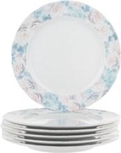 """Набор тарелок мелкая """"Rose"""" 21 см 6 штук; декор """"Голубая роза"""""""