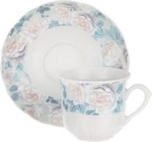"""Набор чашек 155 мл с блюдцем 135 мм высокая 6 штук; """"Rose"""", декор """"Голубая роза"""""""