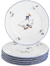 "Набор тарелок мелкая 21 см 6 штук; ""Bernadotte"", декор ""Гуси"""