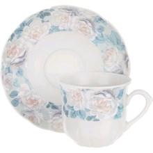 """Набор чашек 225 мл с блюдцем 150 мм высокая 6 штук; """"Rose"""", декор """"Голубая роза"""""""
