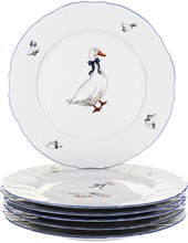 "Набор тарелок мелкая 30 см 6 штук; ""Bernadotte"", декор ""Гуси"""