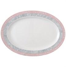"""Блюдо овальное 36 см; """"Jana"""", декор """"Серый мрамор с розовым кантом"""""""