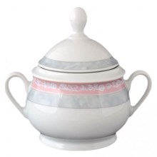 "Сахарница 350 мл; ""Jana"", декор ""Серый мрамор с розовым кантом"""