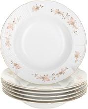 """Набор тарелок глубокая 23 см 6 шт; """"Menuet"""", декор """"Золотые ветки, отводка золото"""""""