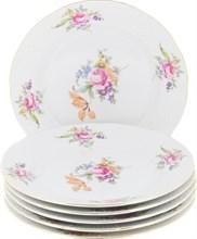 """Набор тарелок мелкая 24 см 6 штук; """"Menuet"""", декор """"Мейсенский цветок, отводка золото"""""""