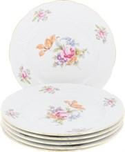 """Набор тарелок мелкая 21 см 6 штук; """"Menuet"""", декор """"Мейсенский цветок, отводка золото"""""""