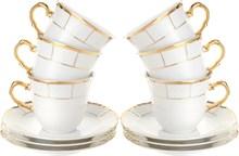 """Набор чашек 225 мл с блюдцем 155 мм высокая  6 штук; """"Menuet"""", декор """"Отводка золото, золотые держатели"""""""
