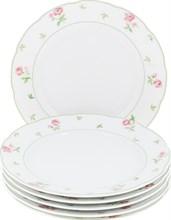 """Набор тарелок десертная 19 см 6 штук; """"Menuet"""", декор """"Роза, зеленая отводка"""""""