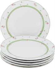 """Набор тарелок мелкая 24 см 6 штук; """"Menuet"""", декор """"Роза, зеленая отводка"""""""
