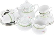 """Чайный сервиз 6/9  6 штук; """"Menuet"""", декор """"Роза, зеленая отводка"""""""
