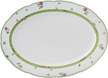 """Блюдо овальное 36 см; """"Menuet"""", декор """"Роза, зеленая отводка"""""""