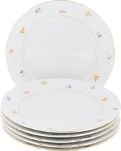 """Набор тарелок мелкая 24 см 6 штук; """"Natalie"""", декор """"Мелкие цветы, отводка золото"""""""