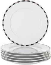 "Набор тарелок десертная ""Opal"" 19 см 6 штук; декор ""Платиновые пластинки""; отводка платина"