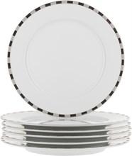 """Набор тарелок мелкая """"Opal"""" 21 см 6 штук; декор """"Платиновые пластинки""""; отводка платина"""