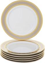 """Набор тарелок десертная 19 см 6 штук; """"Opal"""" декор """"Широкий кант платина, золото"""""""