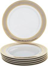 """Набор тарелок десертная 21 см 6 штук; """"Opal"""" декор """"Широкий кант платина, золото"""""""