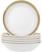 "Набор тарелок для супа (coup-soup) 19см 6 штук; ""Opal"" декор ""Широкий кант платина, золото"""