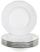 "Набор тарелок глубокая 23 см 6 штук; ""Bernadotte"", декор ""Деколь, отводка платина"""