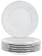 "Набор тарелок десертная 17 см 6 штук; ""Bernadotte"", декор ""Деколь, отводка платина"""