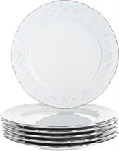 "Набор тарелок мелкая 21 см 6 штук; ""Bernadotte"", декор ""Деколь, отводка платина"""
